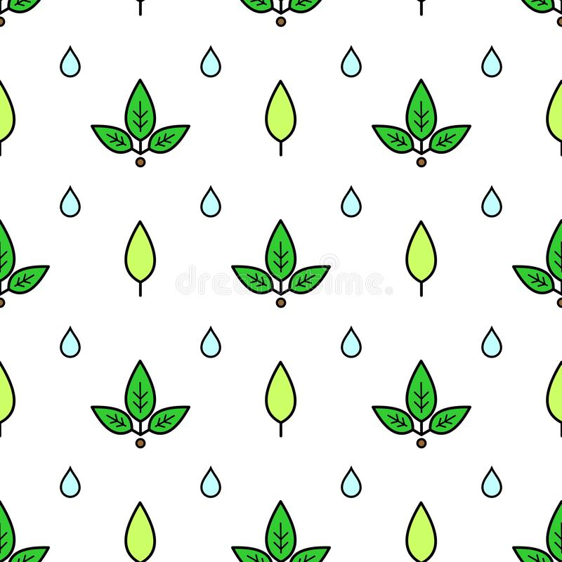 Vector seamless pattern of leaves and drops of water; on white background. Pattern for decor, fabric, textile, wrapping paper, stock illustration