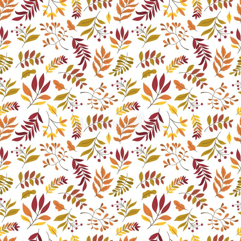 Vector seamless pattern with leaves and plants. On background. Perfect for wallpaper, gift paper, autumn greeting cards stock illustration