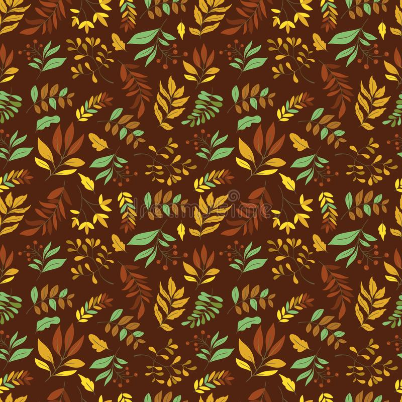 Vector Seamless pattern with leaves and plants. Seamless pattern with leaves and plants on background. Perfect for wallpaper, gift paper, autumn greeting cards vector illustration