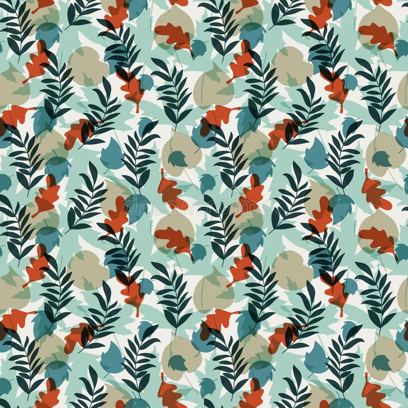 Vector Seamless pattern with leaves and plants. Seamless pattern with oak, maple, aspen leaves and plants on white background. Perfect for wallpaper, gift paper vector illustration