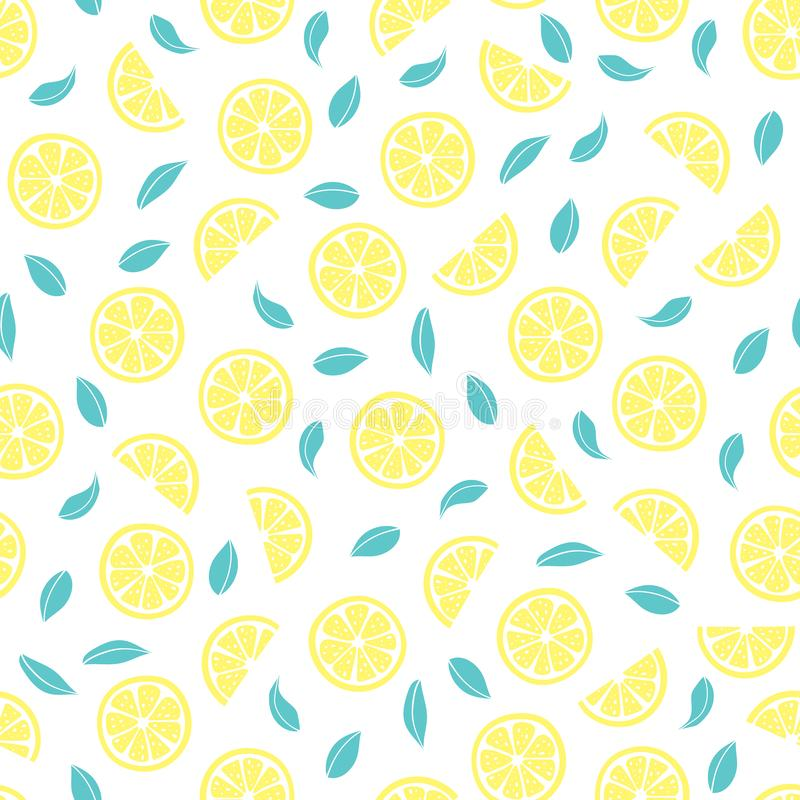Vector seamless pattern with lemons stock photography