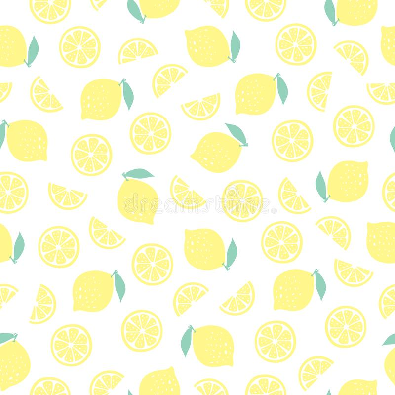 Vector seamless pattern with lemons stock photo