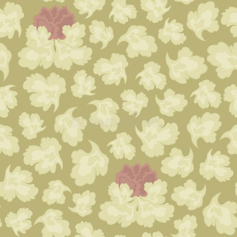 Vector seamless pattern of light-colored leaves and a pink flower on a sepia background with a floral ornament. stock illustration