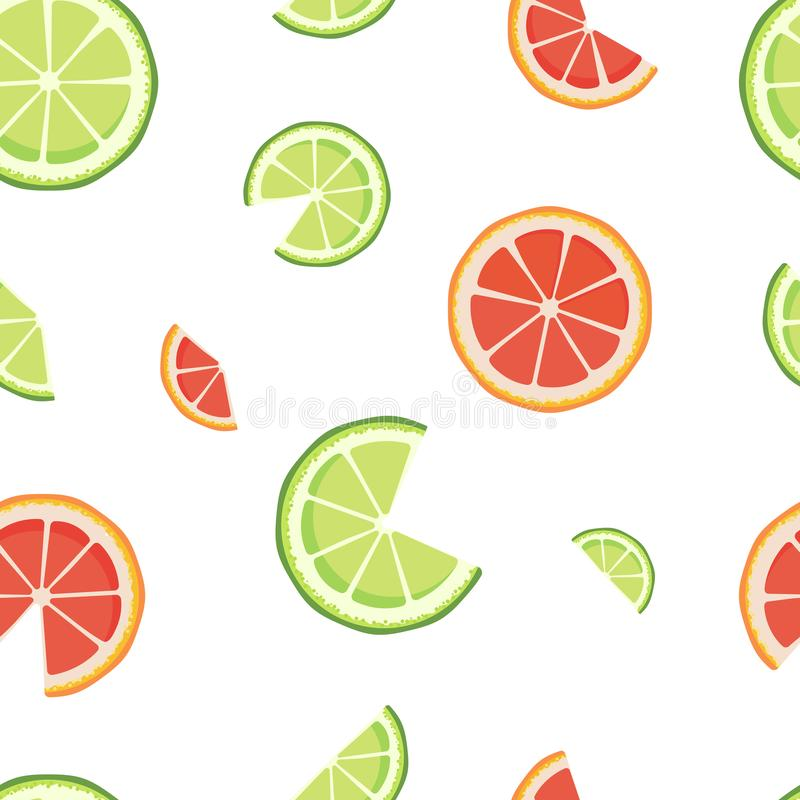 Vector seamless pattern with lime and grapefruit slices isolated on white background. Endless texture for cafe, bar stock illustration