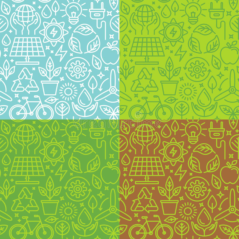 Vector seamless pattern with linear icons related to green energ royalty free illustration