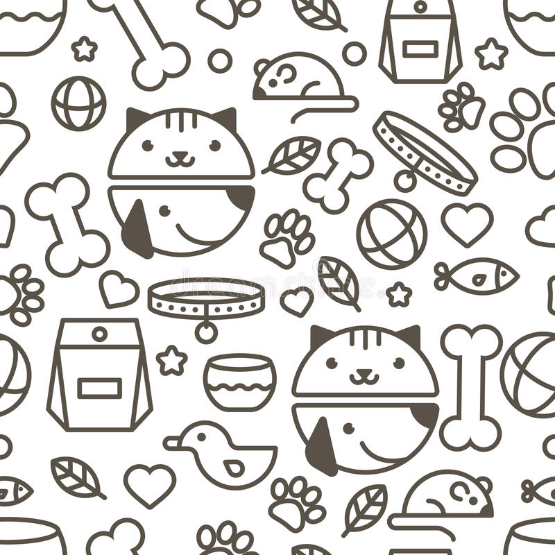 Vector seamless pattern with linear muzzle of cat and dog, goods. For animals. Abstract design concept for pet shop or veterinary. Black and white simple vector illustration