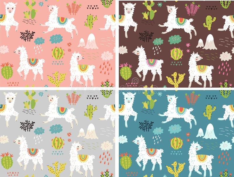 Vector seamless pattern. Llamas and flowers royalty free illustration