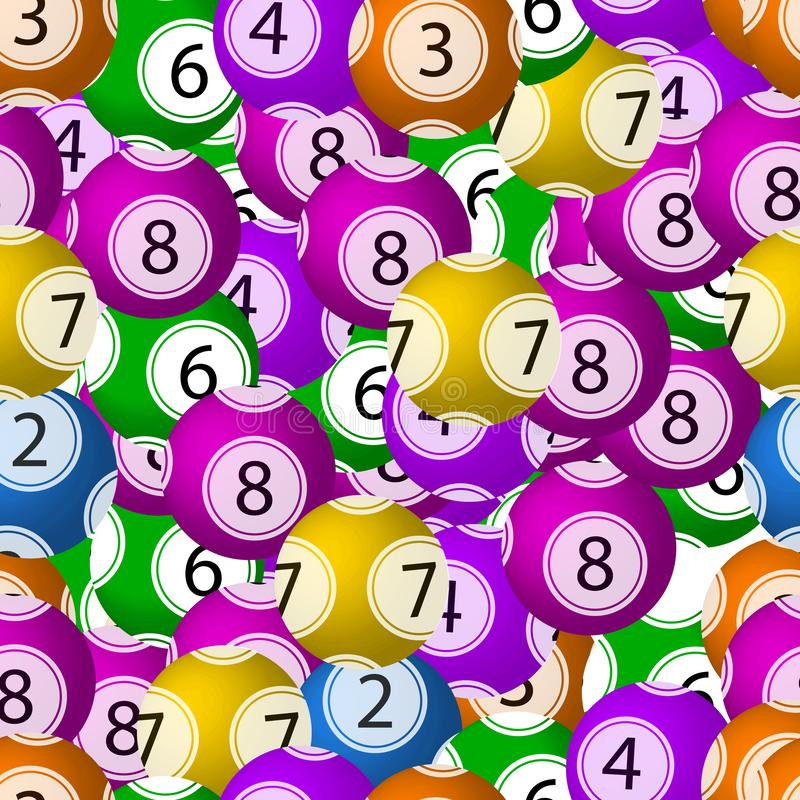 Vector Seamless Pattern, Lottery Balls Background, Chaotic Colorful Elements Backdrop, Bright Colors. Vector Seamless Pattern, Lottery Balls Background, Chaotic royalty free illustration