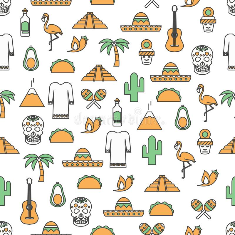 Vector thin line art mexico seamless pattern royalty free illustration