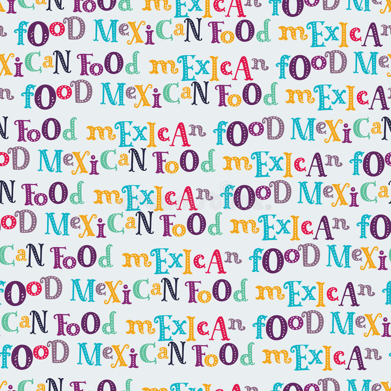 Vector seamless pattern of mexican food in linear style. stock illustration