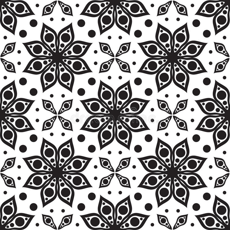 Vector seamless pattern. Modern geometric texture, floral backgr royalty free illustration