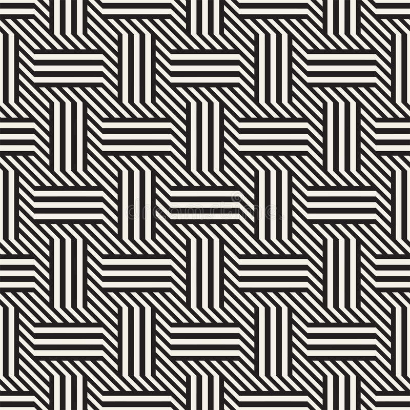 Vector Seamless Pattern. Modern Stylish Interlacing Lines Texture. Geometric Striped Ornament. royalty free illustration