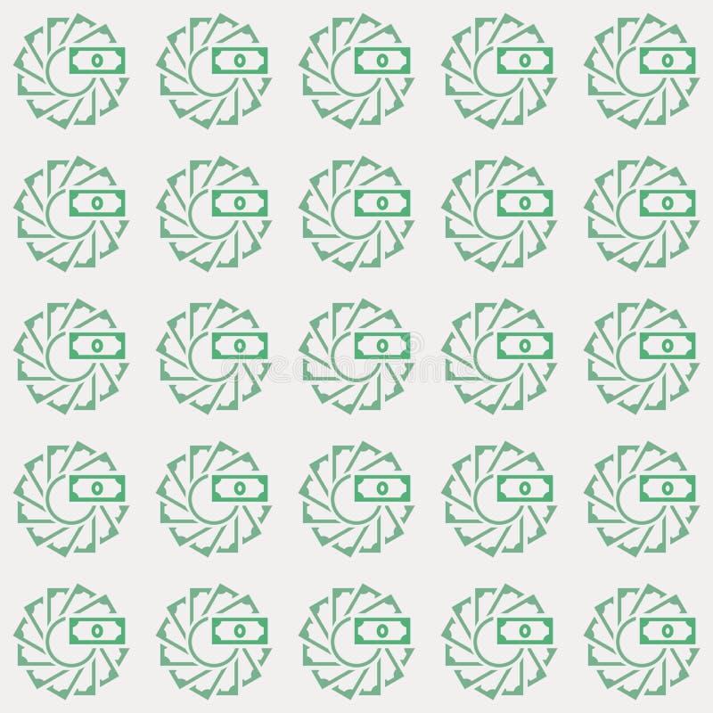 Vector seamless pattern of moneys in creative loop circle style stock illustration