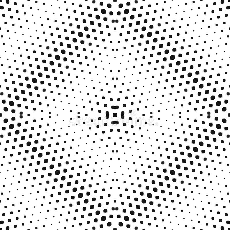 Vector halftone seamless pattern. Radial black & white gradient royalty free illustration