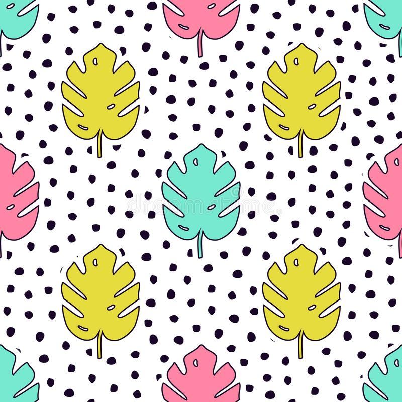 Vector seamless pattern with monstera palm leaves and polka dot background vector illustration