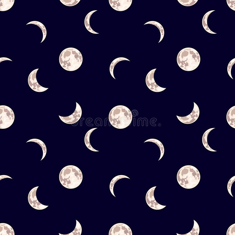 Vector Seamless Pattern: Moon, Night Sky Dark Background with Different Phase of Moon. stock illustration