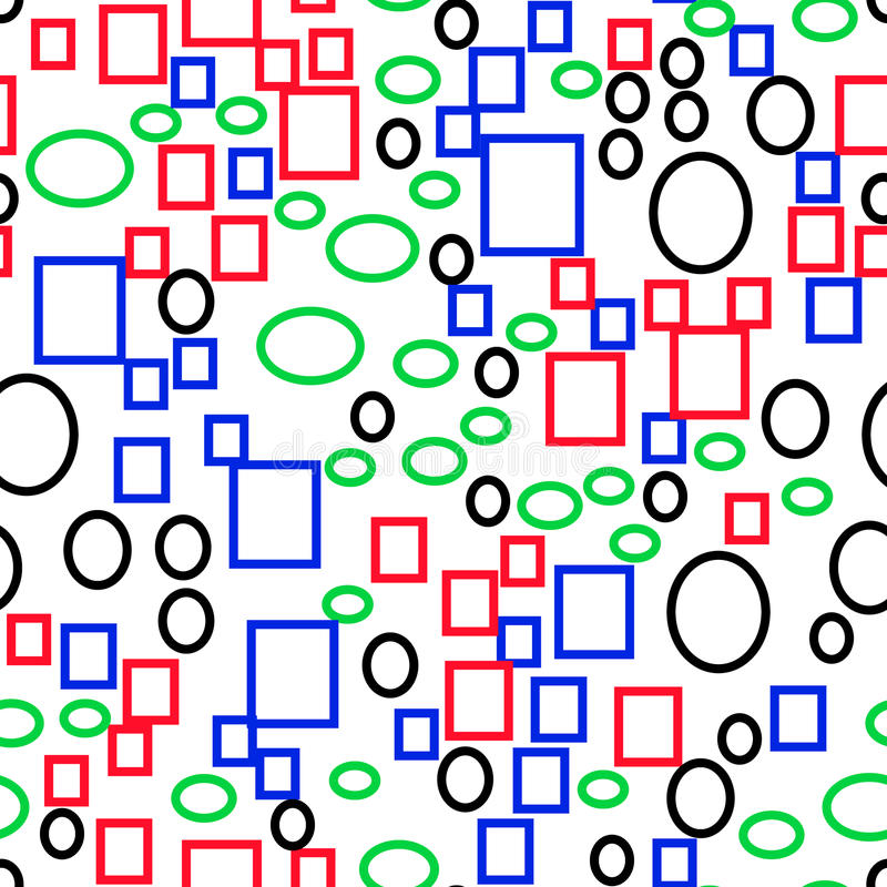 Vector seamless pattern of multi-colored primitive geometric shapes, rectangles and ellipses, flat style stock illustration