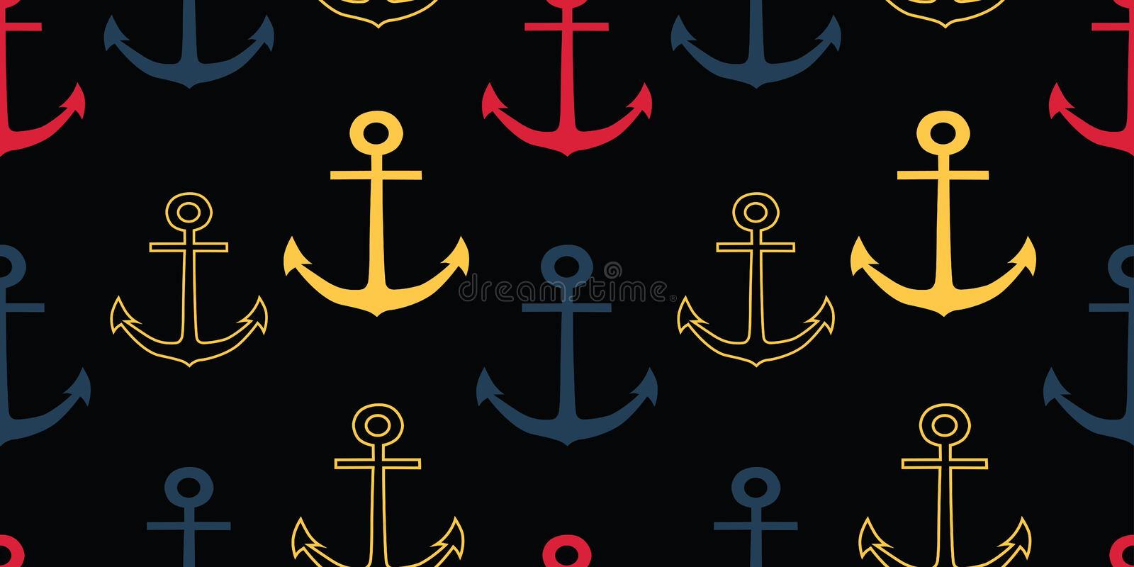 Vector colorful anchors on black background repeat seamless pattern royalty free illustration