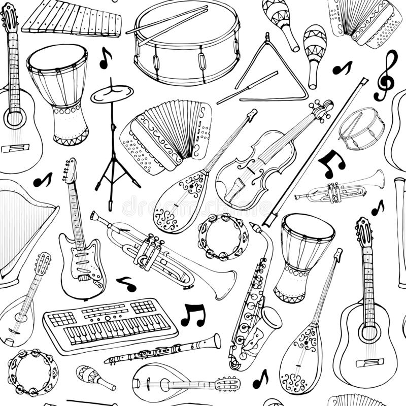 Vector seamless pattern of musical instruments. Linear hand drawn illustration in cartoon style royalty free illustration