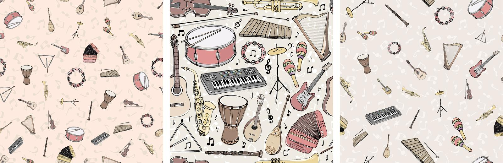 Vector seamless pattern with musical instruments. Multicolored hand drawn illustration in cartoon style vector illustration