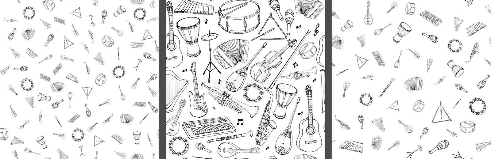 Vector seamless pattern of musical instruments. Linear hand drawn illustration in cartoon style vector illustration