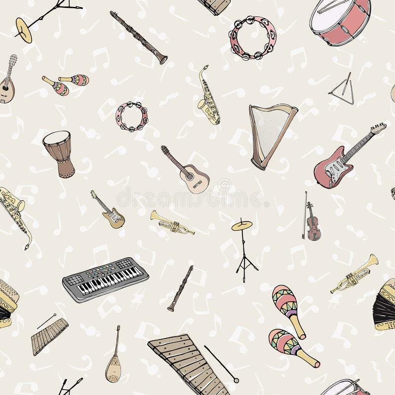 Vector seamless pattern with musical instruments. Multicolored hand drawn illustration in cartoon style royalty free illustration
