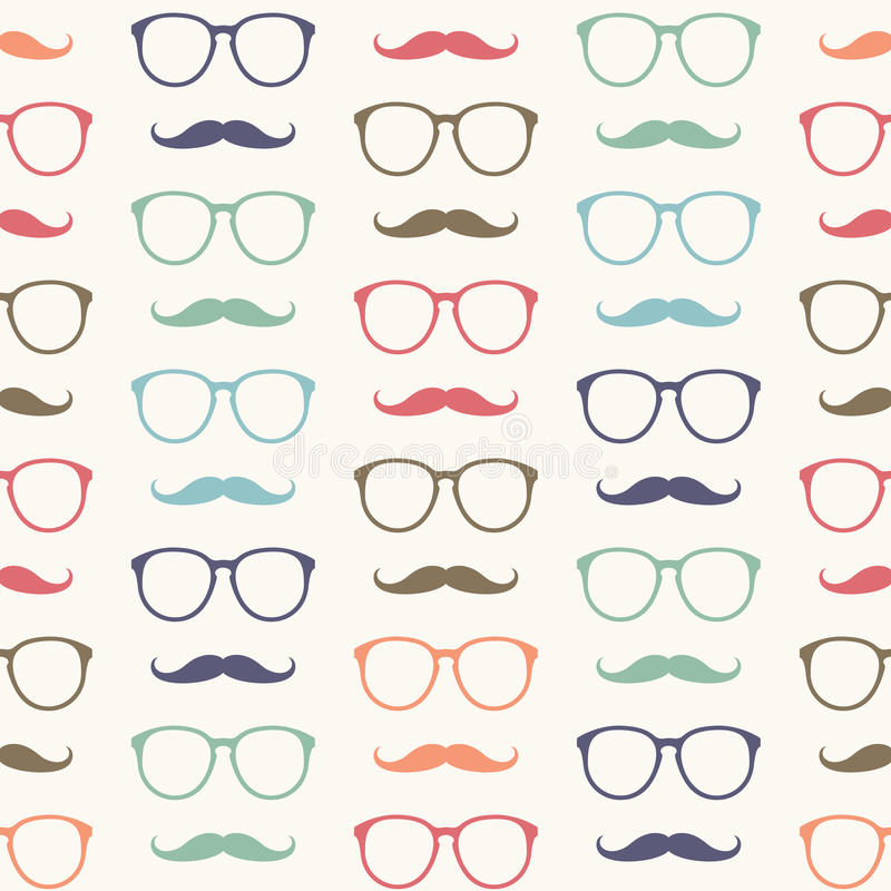 Vector seamless pattern of mustache and glasses vector illustration