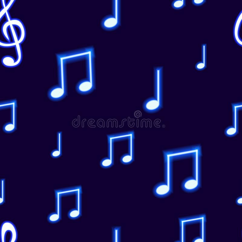 Vector Seamless Pattern with Neon Blue Musical Notes on Dark Background, Abstract Backdrop Template. vector illustration