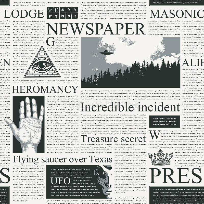 Seamless pattern on the theme of Newspapers. Vector seamless pattern with newspaper columns. Repeatable newspaper background with black unreadable text vector illustration