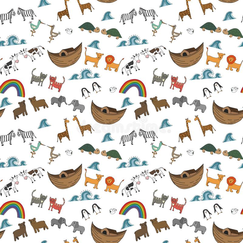 Vector seamless pattern with Noah`s Ark concept. Bible story for kids, cartoon ornament stock illustration