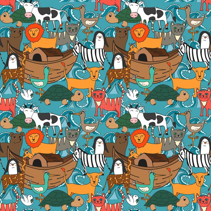 Vector seamless pattern with Noah`s Ark concept. Bible story for kids, cartoon ornament royalty free illustration
