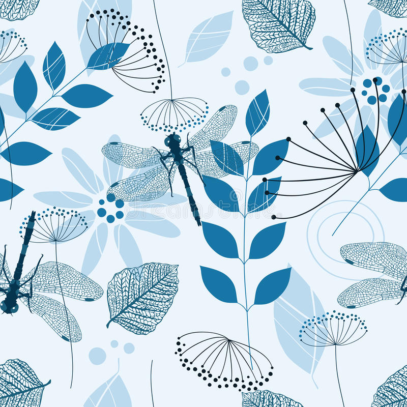 Free Vector Seamless Pattern Of Blue Flowers And Leaves Stock Images - 10903484