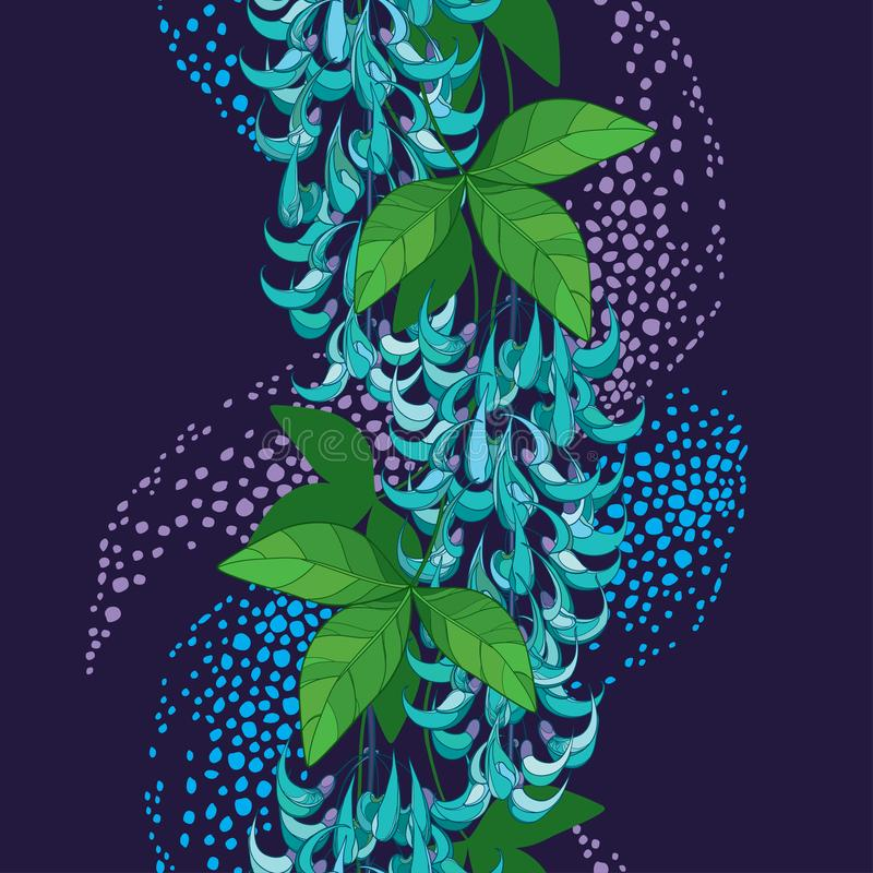 Free Vector Seamless Pattern Of Outline Strongylodon Flower Bunch Or Turquoise Jade Vine With Green Leaf And Bud On The Violet Back. Stock Photo - 142079930