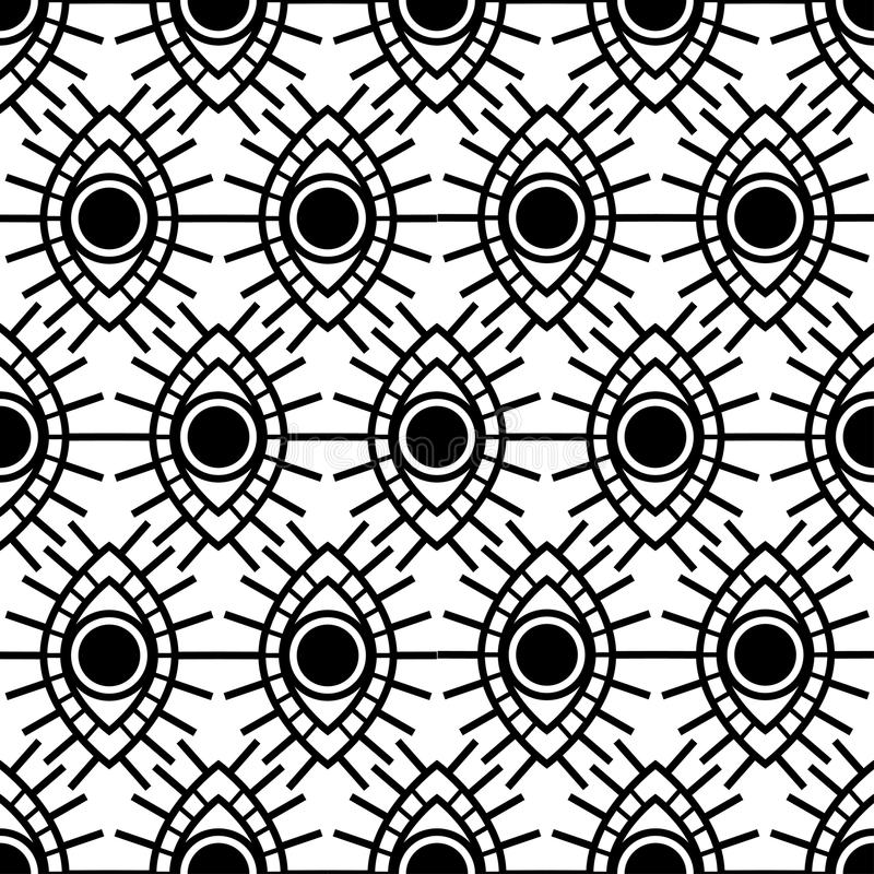 Vector seamless pattern with open black eyes isolated on white background. royalty free illustration