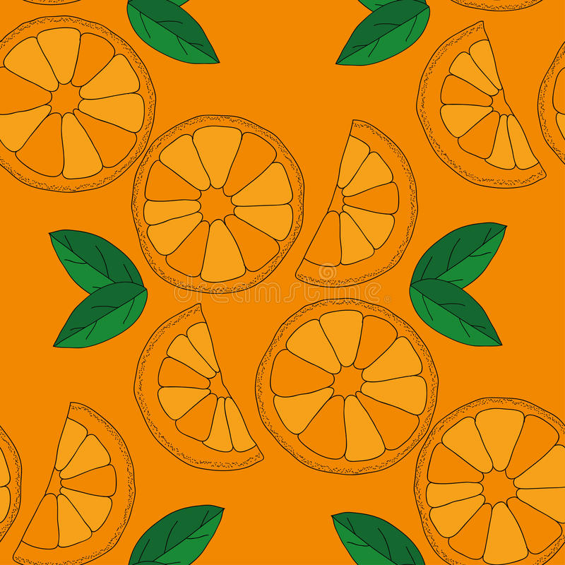Vector seamless pattern with oranges. Citrus seamless pattern. Vector oranges isolated on color background royalty free illustration