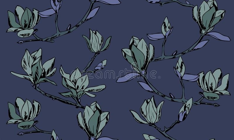 Vector seamless pattern. Ornament of twigs of magnolia flowers royalty free illustration