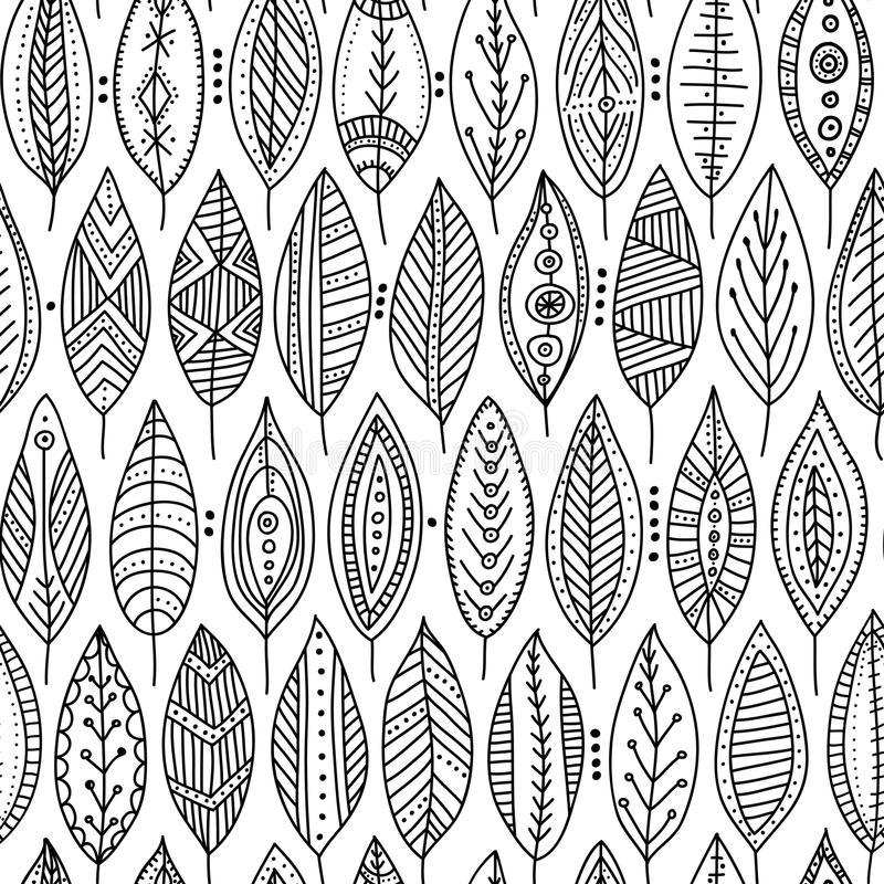 Vector seamless pattern with ornamental leaves stock photos