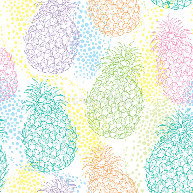 Vector seamless pattern with outline Ananas or Pineapple in pastel color and dots on the white background. Fruit pattern. vector illustration