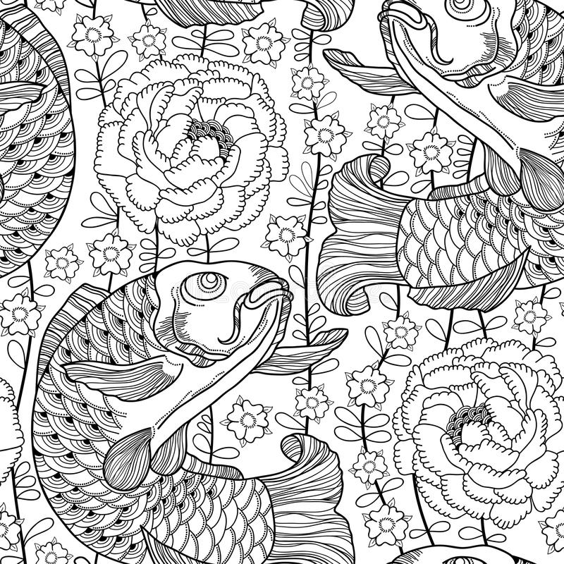 Vector seamless pattern with outline black koi carp and chrysanthemum or dahlia on the white background. Japanese ornate fish. Vector seamless pattern with stock illustration