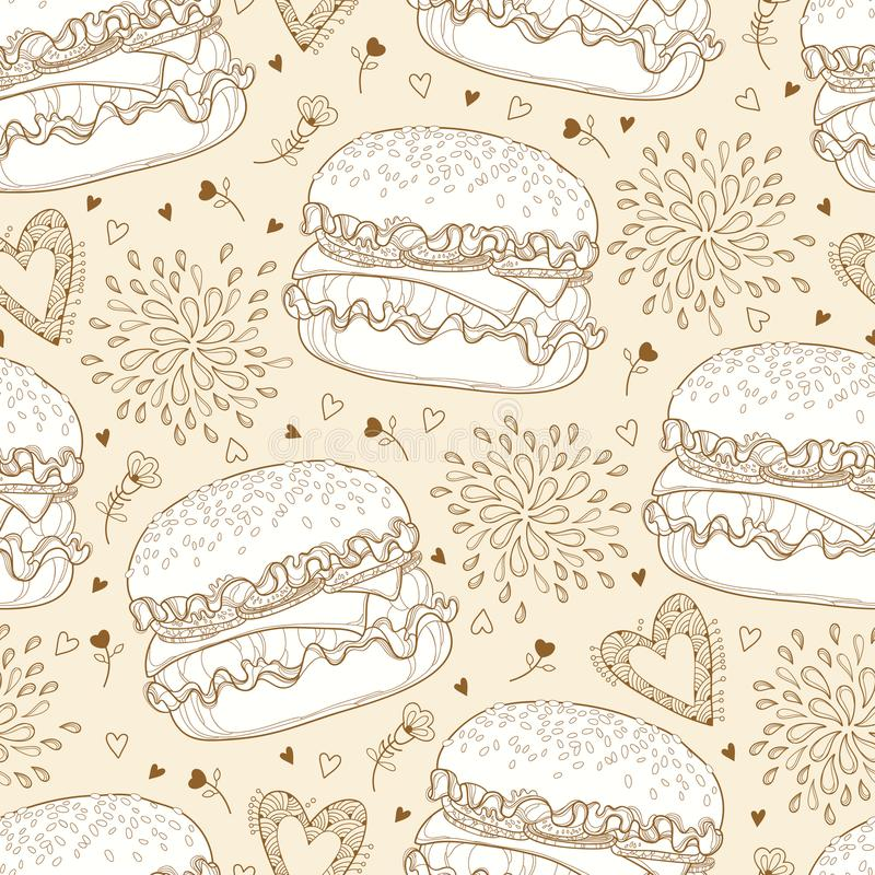 Vector seamless pattern with outline cheeseburger or burger with cheese, hearts and drops on the pastel beige background. royalty free illustration