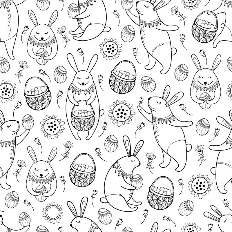 Vector seamless pattern with outline Easter rabbits, egg, basket and flowers on the white background. Cute cartoon bunny and eggs. royalty free illustration