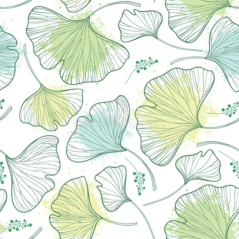 Vector seamless pattern with outline Gingko or Ginkgo biloba leaves and blot in pastel green on the white background. stock illustration