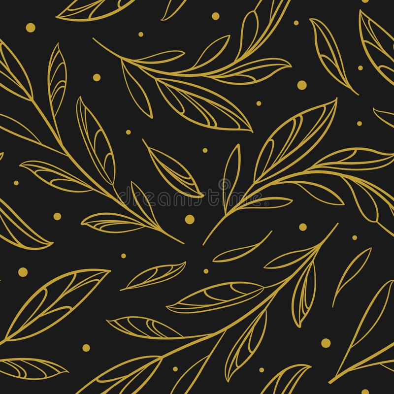 Vector seamless pattern with outline golden branches and leaves; floral abstract design. stock illustration