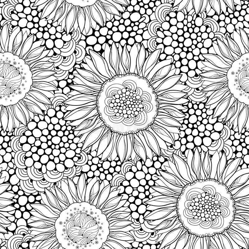 Vector seamless pattern with outline open Sunflower or Helianthus on the background with abstract circles. Floral pattern. royalty free illustration