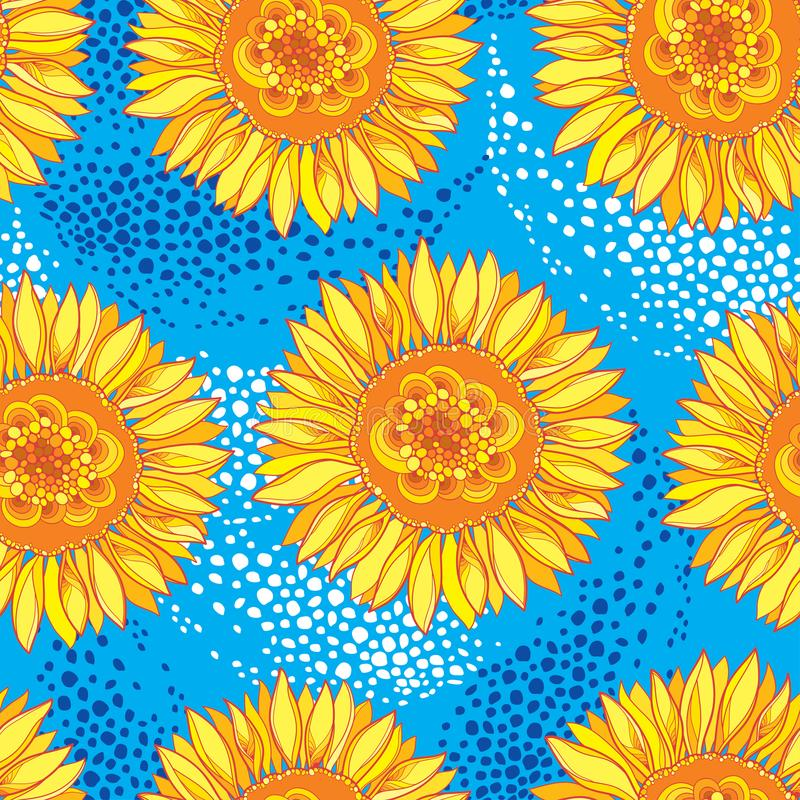 Vector seamless pattern with outline open Sunflower or Helianthus flower in yellow and orange on the blue background. royalty free illustration