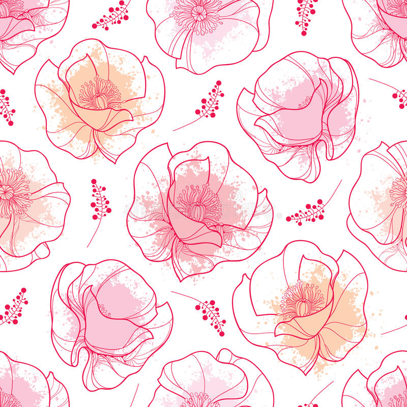 Vector seamless pattern with outline red Poppy flower and pink pastel blots on the white background. Elegance floral background. vector illustration