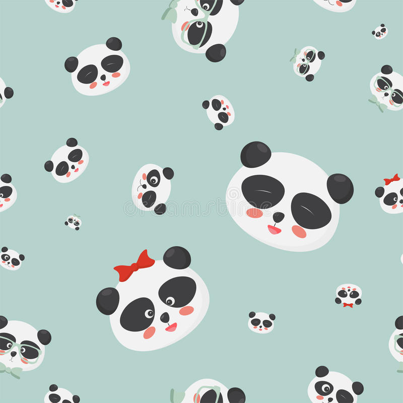 Vector seamless pattern: panda bear faces on a light blue background, panda faces with different emotions. vector illustration