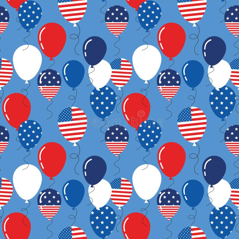 Vector seamless pattern with patriotic balloons. National colors of the United States. American flag,stars and stripes. Use for celebration of independence day vector illustration