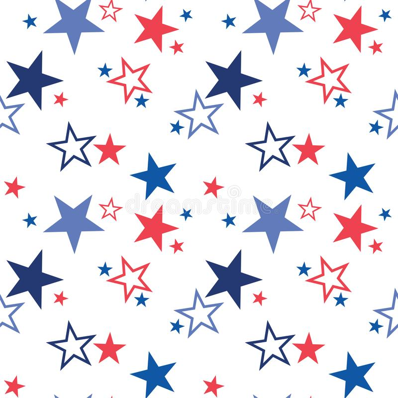 Vector seamless pattern with patriotic stars. National colors of the United States. American flag,stars and stripes. Use. For celebration of independence day vector illustration