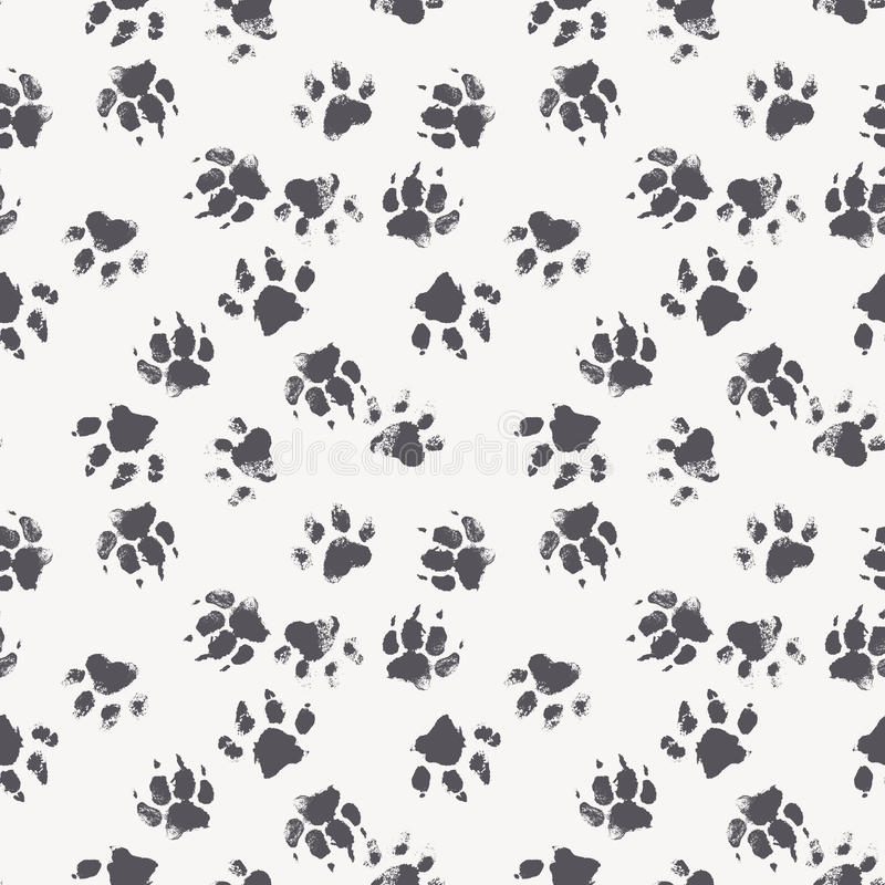 Vector seamless pattern with paw footprints of a dog royalty free illustration